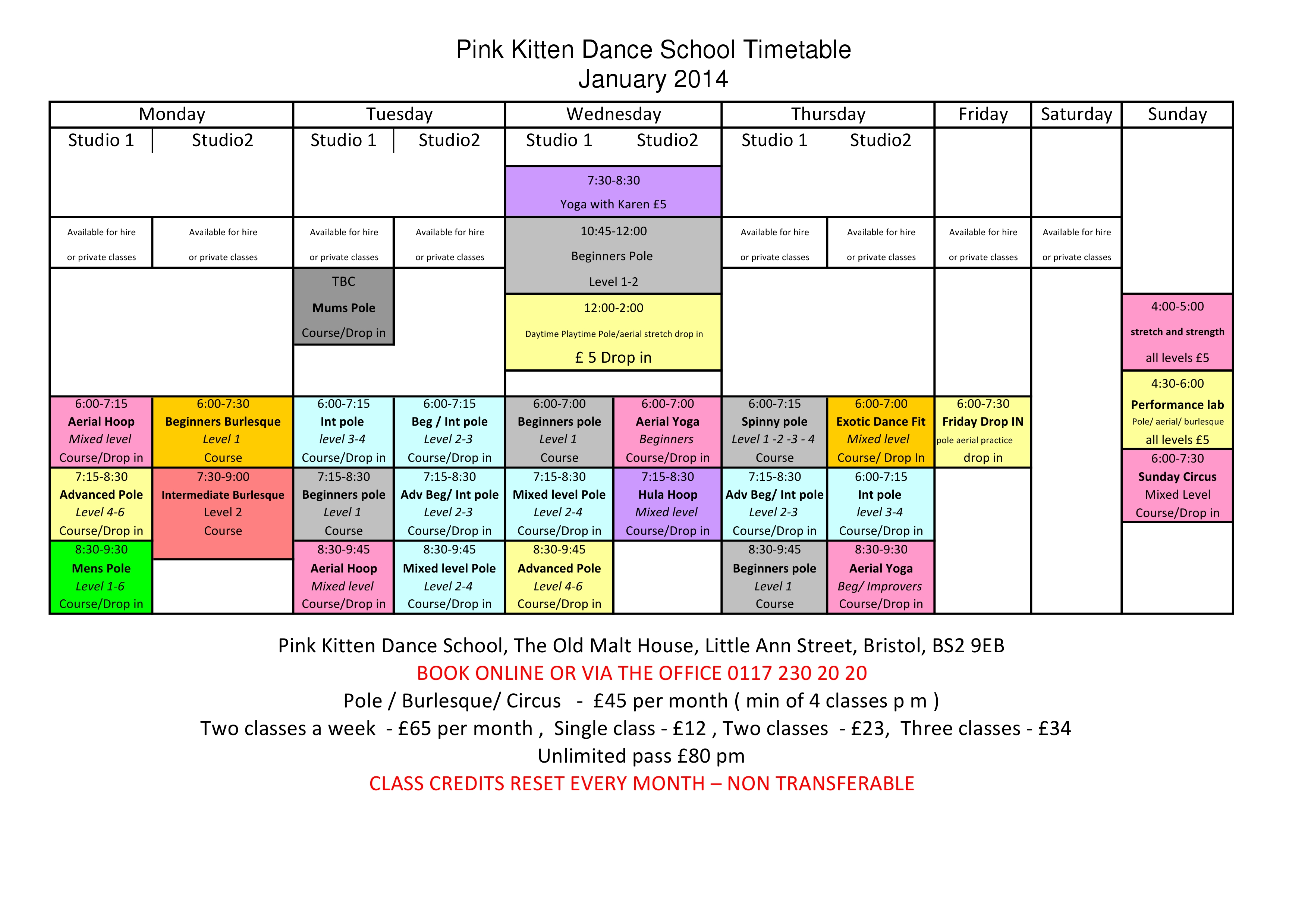 2014 timetable